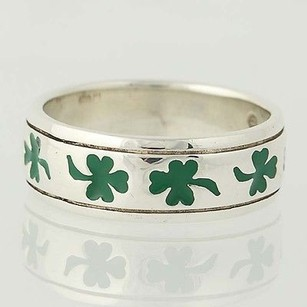 4-leaf Clover Ring - Sterling Silver Band 9.75 Good Luck Shamrock Unisex