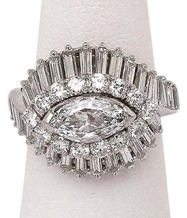 Estate Platinum 5.10ctw Marquies Baguette Round Diamond Ladies Cocktail Ring