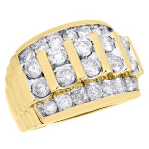 10k Yellow Gold Channel Set Diamond Wedding Band Mens 19mm Fancy Pinky Ring Ct