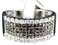 White,Gold,Finish,Ladies,8.5,Mm,Brown,White,Diamond,Fashion,Band,Ring,.77,Ct