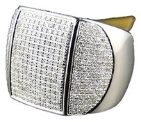 ,10k,Mens,White,Gold,Round,Cut,Diamond,3,D,Pinky,Fashion,Ring,1.27,Ct