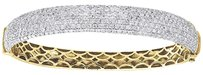 Diamond Dome Bangle 10k Yellow Gold Ladies Round Cut Pave Bracelet 4.95 Ctw.