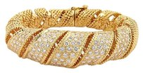 Other Estate 18k Yellow Gold Pave Diamond Spiral Cable Bangle Bracelet
