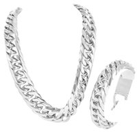Solid Miami Cuban Link Chain Stainless Steel 18mm Mens Necklace Bracelet 475gm