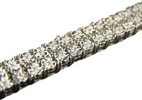 Mens,2,Row,Genuine,Diamond,White,Gold,Finish,Bracelet,8,Inch