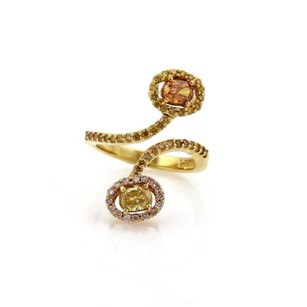 Other Estate 1.48ct Fancy Color Diamond 18k Yellow Gold Bypass Ring