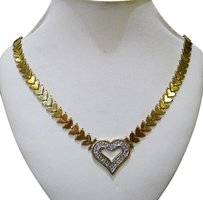 Fine Estate 14k Yellow Gold Diamond Heart Necklace 1.2ct