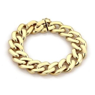 Other Mens 18k Yellow Gold 16mm Wide Curb Link Chain Bracelet 8 Long 61gams
