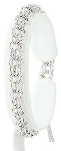 Double Curb Chain Bracelet 34 - Sterling Silver Starter Charm Womens