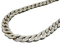 Yellow Gold Over Sterling Silver Icy Lab Diamond Miami Cuban Link Chain Necklace