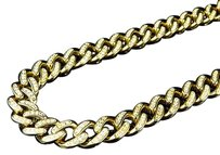 Mens Yellow Gold Sterling Silver Lab Diamond Cuban Chain Royal Necklace 9mm 28