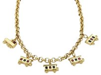 Other Estate 18k Yellow Gold Sapphire Ruby Train Charm Hefty Chain Necklace