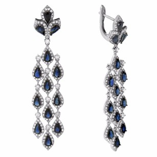 6.50ct Sapphire 14k White Gold And Diamond Chandelier Earrings