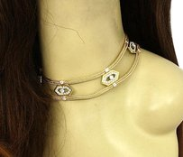 Estate Vintage 18k Yellow Gold 7ctw Diamond Ladies Choker Woven Link Necklace