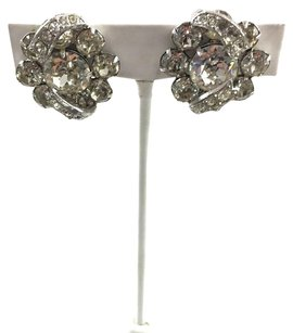 Other Vintage Silver Tone Clear Rhinestone Signed Eisenberg Clip On Earrings