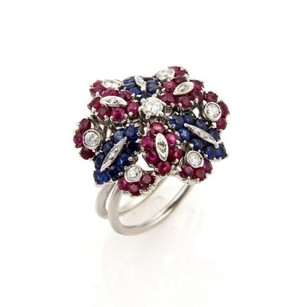 Other Estate 4ct Diamonds Sapphire Rubies 18k White Gold Floral Cluster Ring -size