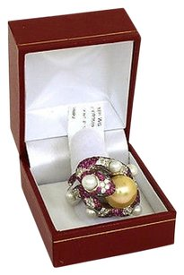 Other Pretty 4.15ct Diamonds Pink Sapphires South Seas Pearl 18k Gold 3d Snake Ring