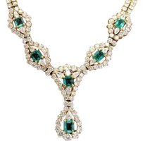 18kt Gem Colombian Green Emerald Diamond Yellow Gold Necklace 16 11.20ct