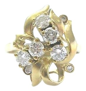 Other 18kt Round Cut Diamond Cluster Yellow Gold Jewelry Ring .78ct