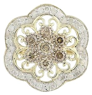 Other Diamond Flower Halo Ring - 10k Gold Round Brilliant Champagne .85ctw
