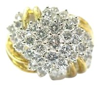18kt,Diamond,Cluster,Flower,Jewelry,Ring,Yellow,Gold,2.12ct