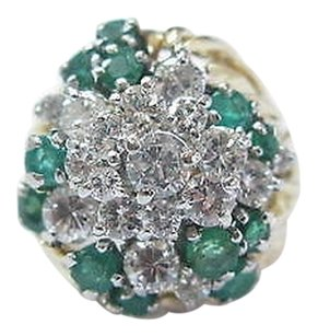 18kt,Gem,Green,Emerald,Diamond,Cluster,Yellow,Gold,Jewelry,Ring,2.44ct