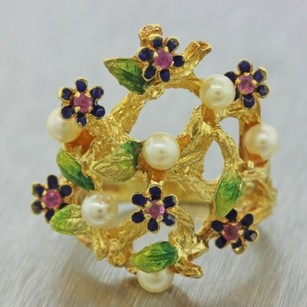 Other 1970s Vintage Estate 18k Yellow Gold Enamel Flower Seed Pearl Cocktail Ring