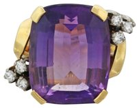 Other 1940s Antique Art Deco 18k Gold 17.0ct Amethyst 0.3ctw Diamond Cocktail Ring