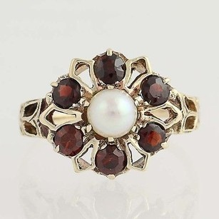 Garnet Cultured Pearl Flower Ring - 10k Yellow Gold Womens 0.90 5.1mm