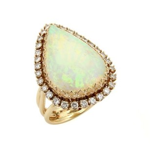 Other Estate 11ct Pear Cut Opal Diamonds 14k Yellow Gold Cocktail Ring