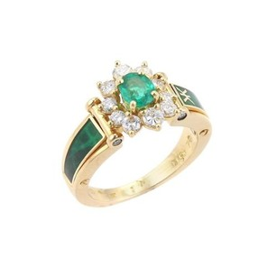 Other Korloff 1.20ct Diamonds Emerald Enamel 18k Gold Cocktail Ring -