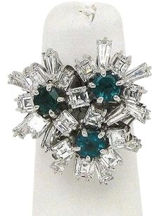 Other Estate 18kt White Gold 4.40ctw Diamond Emerald Floral Cocktail Ring