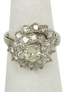 Platinum 1.90ctw Round Cut Diamond Ladies Cocktail Ring