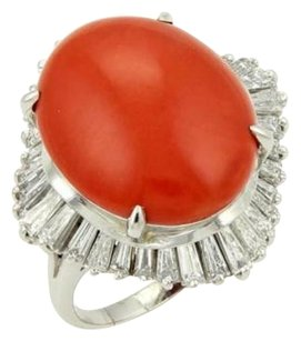 Other Estate Platinum 2.75ct Baguette Diamonds Oval Coral Cocktail Ring - 7.75