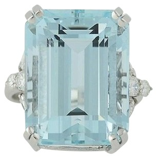 Aquamarine Diamond Cocktail Ring - 18k White Gold March Birthstone 20.32ctw