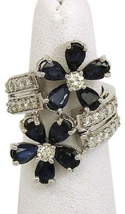 Charming 14k White Gold 4ctw Diamond Blue Sapphire Floral Bypass Design Ring