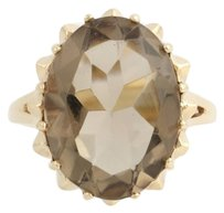 Smoky Quartz Cocktail Ring- 10k Yellow Gold Solitaire 12 Genuine 8.00ctw