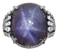 Platinum 88ct Star Sapphire And Diamond Antique Cocktail Ring