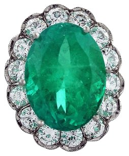 Platinum Carat Emerald And Diamond Ring