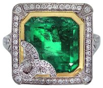 Vintage Style Emerald Platinum Yellow Gold Diamond Cocktail Ring