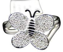 10k,White,Gold,Ladies,Womens,Butterfly,Shape,Fashion,Designer,Diamond,Ring