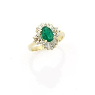 Estate,14k,Yellow,Gold,Oval,Shaped,Emerald,And,Diamond,Cocktail,Ring,-,Size,8.5