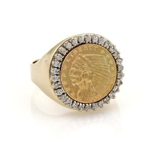 Other Mens Estate Diamond 22k Liberty Coin 14k Yellow Gold Ring