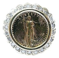 Fine,5,Dollar,Gold,Coin,Diamond,Yellow,Gold,Jewelry,Ring,.63ct
