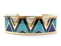 Fine Opal Diamond 14yellow Gold Cuff Bangle Bracelet .60ct