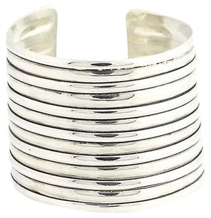 Ribbed Cuff Bracelet 7 - Sterling Silver Wide Curved Womens