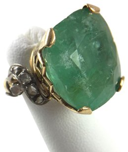 Other Ct Cushion Cut Emerald 18k Gold .14ct Diamond Ring