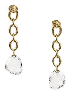 H. Stern 18k Yellow Gold Diamond Rock Crystal Chain Drop Earrings