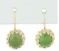 Nephrite Jade Drop Earrings - 14k Yellow Gold Pierced