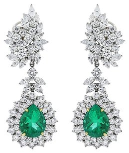 Platinum Pear Shape Emerald Marquiseround Cut Diamond Drop Earrings